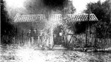 Black and white image of the house of the first Confederate family in Americana in Brazil