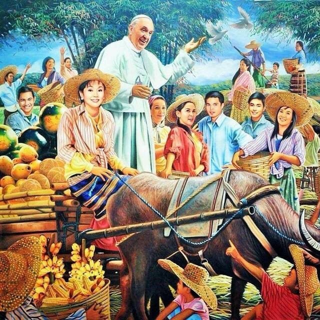 Dante Hipolito's painting of the Pope's visit, courtesy of The Adobo Chronicles.