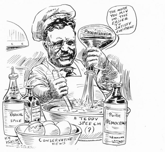 Editorial cartoon by Karl K. Knecht in Evansville Courier, Oct 1912.