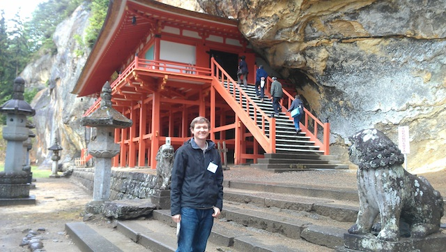 David Conrad at Takkoku no Iwa, a shrine built into a rock face near Ichinoseki City.