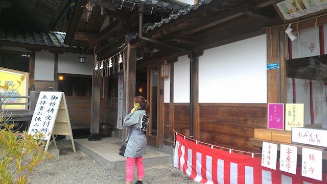 The blue placard near the window of a Karakuwa shrine shop marks the tsunami's water line. Many businesses in the area feature similar placards.