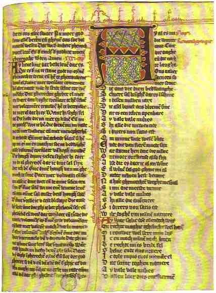 Medieval manuscript page of a Hadewijch poem from the 14th century.