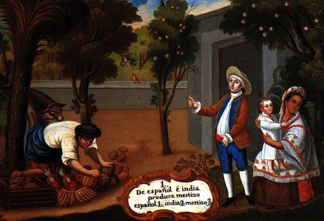 "Casta Painting from the end of the 18th century or beginning of 19th century. Author unknown. The caption reads ""From a Spanish man and an Amerindian woman, a Mestizo is produced"""