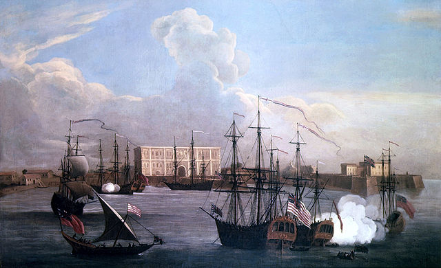 Painting of the East India Company's settlement in Bombay and ships in Bombay Harbour 1732-33. Via Wikimedia Commons.