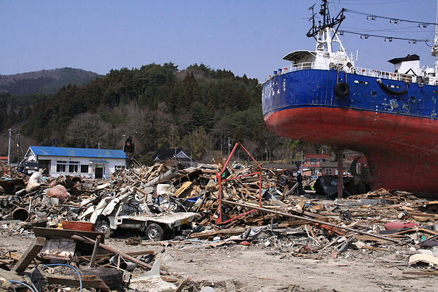 Shishiori-Karakuwa Station after the 2011 Tsunami. Via Wikimedia Commons.