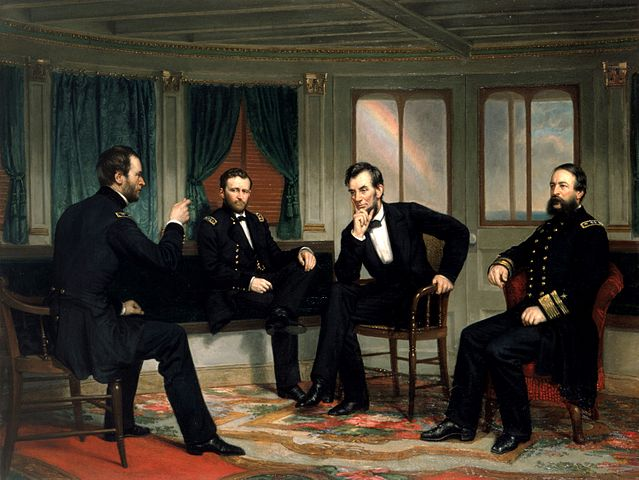 The Peacemakers depicts Sherman, Grant, Lincoln, and Porter aboard the River Queen on March 27th & March 28th, 1865. White House copy of the lost 1868 painting.