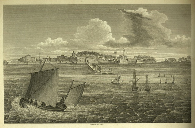 View of Bombay from colaba island in 1773 by James Medium Forbes. Engraving Date, 1813