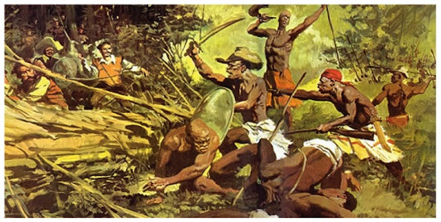 Painting of a battle at Palmares. Image via Black Women of Brazil.