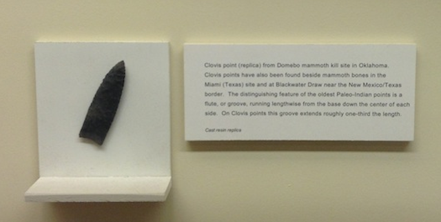 Clovis point (replica) from Domebo mammoth kill site in Oklahoma.