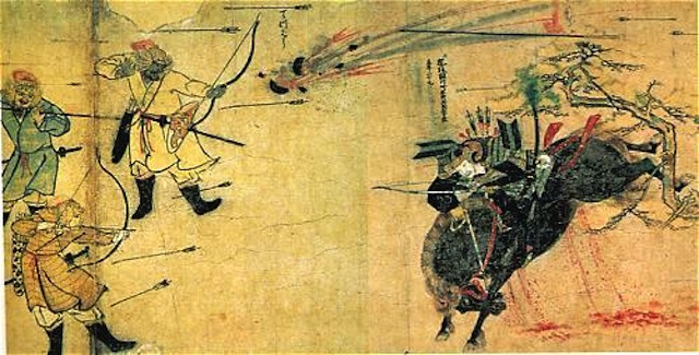 Mongols using Chinese gunpowder bombs during the Mongol Invasions of Japan, 1281