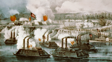 Print of the bombardment and capture of Fort Hindman, Arkansas Post, January 11th 1863. Via Wikipedia.
