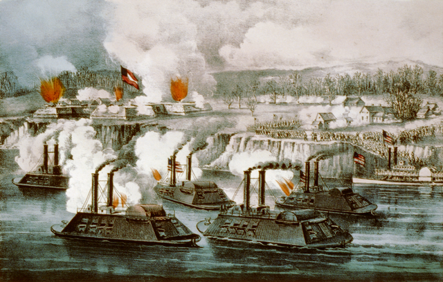 Bombardment and capture of Fort Hindman, Arkansas Post, January 11th 1863. Via Wikipedia.