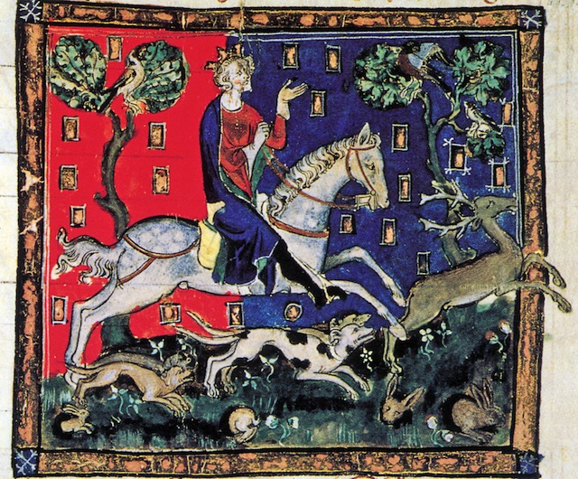King John on a stag hunt. King John of England, 1167-1216. Illuminated manuscript, De Rege Johanne, 1300-1400