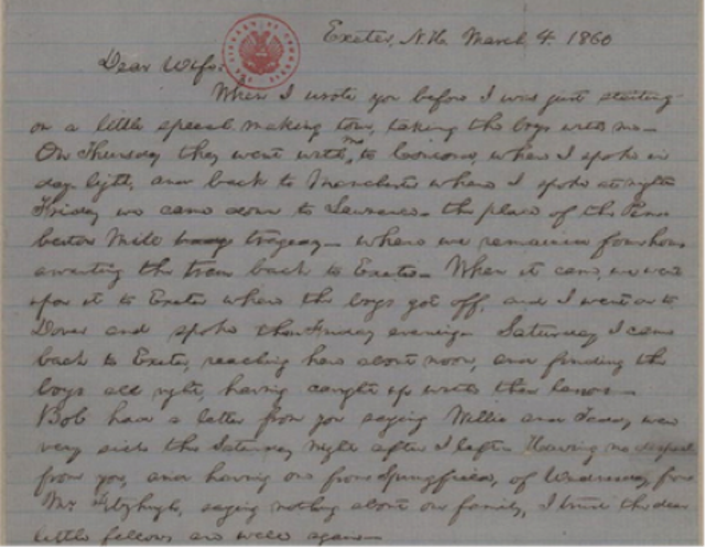 Lincoln letter to Mary Todd