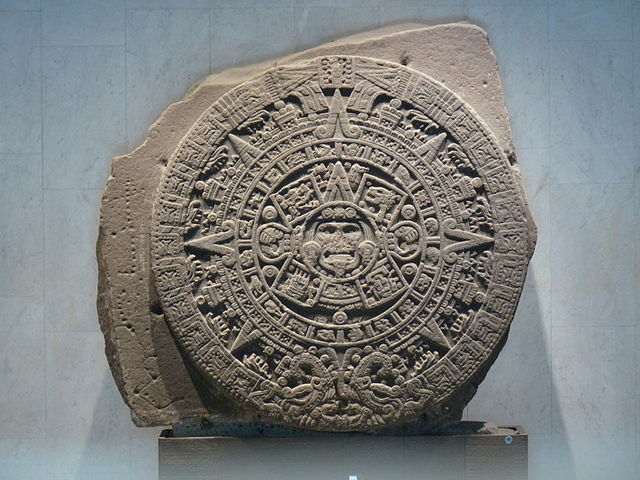 Monolith of the Stone of the Sun, also named Aztec calendar stone.