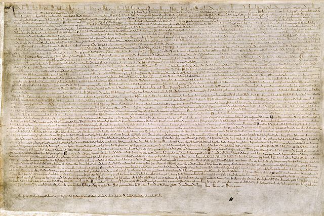 One of four known surviving 1215 exemplars of Magna Carta. This document is held at the British Library and is identified as British Library Cotton MS Augustus II.106.