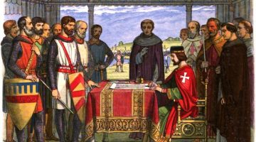 Romanticised image of King John signing the Magna Carta, 1864.