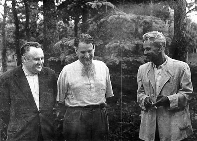 The Chief Designer Sergei Korolev (left) and the Chief Theoretician Mstislav Keldysh (right). In the centre- Igor Kurchatov, 1956
