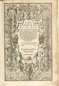 The frontispiece to the first volume of Coke's Reports (1600)