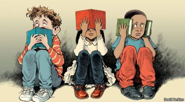 A cartoon depicting three young school children one covering his mouth with a book, a girl covering her eyes with a book, and another boy covering his ears with two books