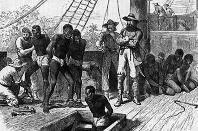 British Slave Traders load a ship off the coast of West Africa. Image courtesy of Discover Liverpool