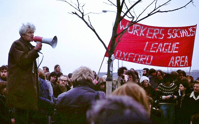 E P Thompson addresses anti-nuclear weapons rally, Oxford, England, 1980