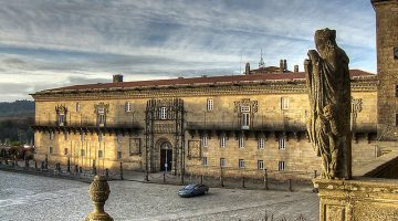 Entrance to the residence of the Catholic Kings, formerly used as a haven of refuge and a hospital for the pilgrims; now turned into a 5-star parador; Santiago de Compostela, Spain