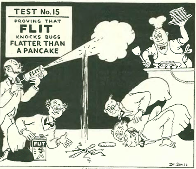 The indiscriminate spraying of FLIT insecticide was encouraged in a series of ads merrily rendered by Dr. Seuss. (The New Yorker Digital Archive)