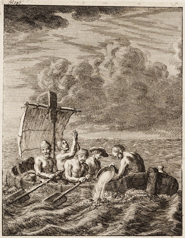 Five Englishmen escaping slavery from Algiers, Barbary Coast, 1684, by Jan Luyken