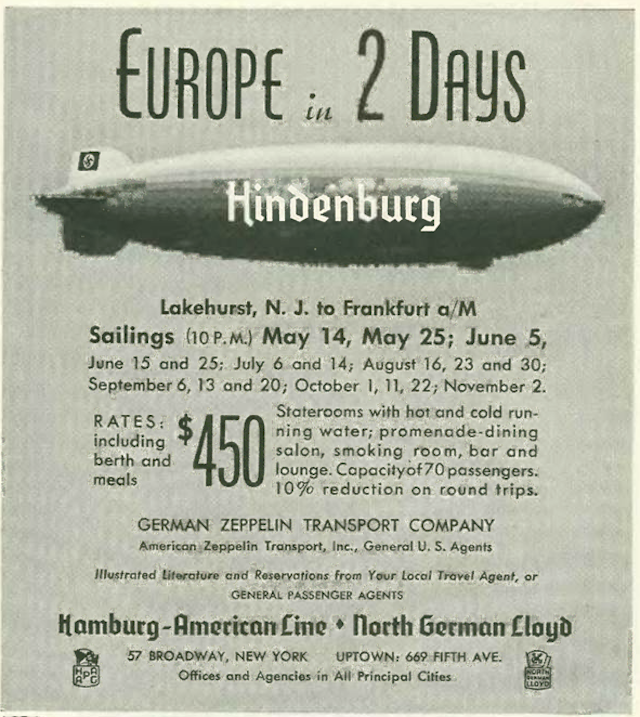 Foresight and hindsight: A reader of this ad in the May 8, 1937 issue of The New Yorker would be well advised not to book passage on the Hindenburg, because it will not be making the return trip to Germany. (The New Yorker Digital Archive; Wikipedia)