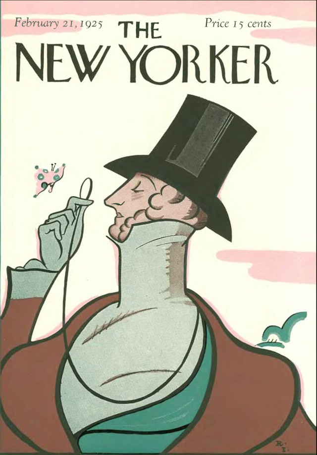 The New Yorker, Issue No. 1, Feb. 21, 1925. Many of magazine's elements familiar to today's readers were in place from the beginning, including the magazine's distinctive typography and its famous cartoons. (The New Yorker Digital Archive)