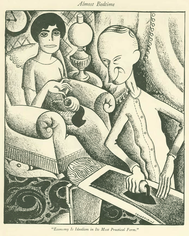 Famously droll cartoons were a New Yorker staple from the very beginning, including this illustration of President and Mrs. Coolidge by Miguel Covarrubias. The president was a frequent target of the magazine for his frugality and bland demeanor. March 14, 1925. (The New Yorker Digital Archive)