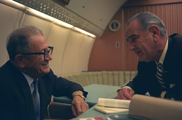 Sen. Allen Ellender (D-LA) meeting with President Lyndon Johnson. When Ellender offered to arrange for a private screening of the film documenting his 1963 African tour, the president politely declined