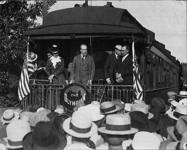 """Charles Evans Hughes campaigns in Winona, Minnesota on the Milwaukee Road's Olympian"". Via Wikipedia Commons."