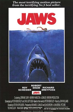Theatrical release poster for Jaws. Via Wikipedia.