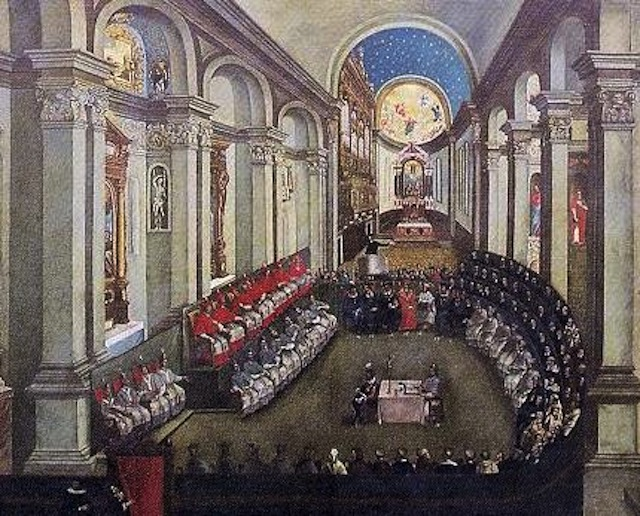 The Council of Trent meeting in Santa Maria Maggiore church, Trento (Trent). (Artist unknown; painted late 17th century). Via Wikipedia