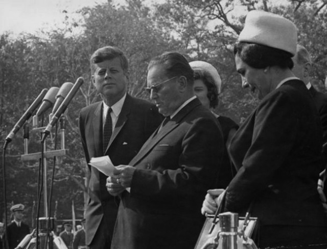 John F. Kennedy and Josip Broz Tito at the White House in 1963. Via the Boston Globe.