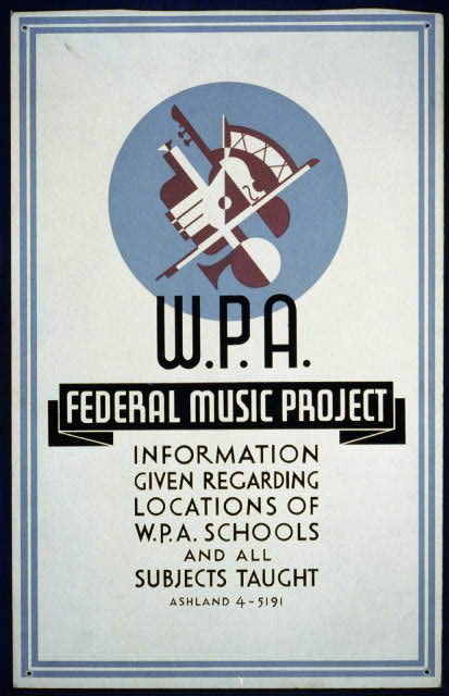 The Works Progress Administration's music project employed musicians as instrumentalists, singers, concert performers, and music teachers during the Great Depression. Via Library of Congress.