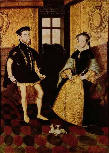 Portrait of Philip and Mary by Hans Eworth, 1558. Via Wikipedia.