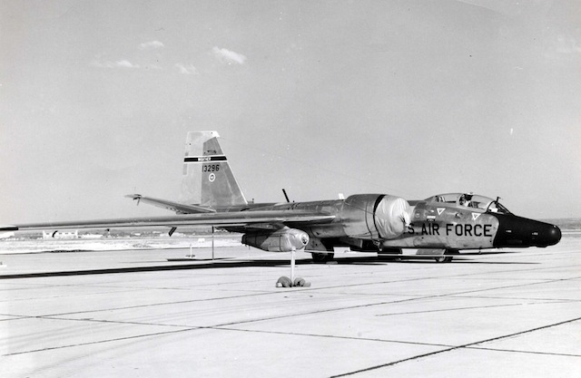 RB-57F Rivet Chip 63-13296 of the 58th Weather Reconnaissance Squadron at Webb AFB, Texas on 8 March 1965. Via Wikipedia.