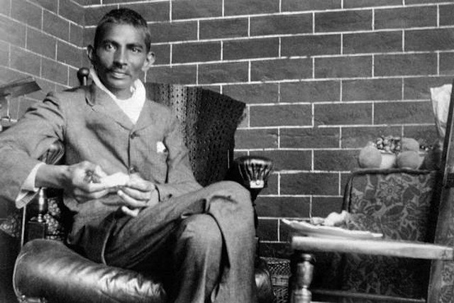Indian lawyer, activist and statesman Mohandas Karamchand Gandhi (1869 – 1948) recuperating after being severely beaten on Feb. 10, 1908 in South Africa. His assailant, Mir Al'am, was a former client of Pathan origin, who considered Gandhi's voluntary registration under the South African government's Asiatic Registration Act as a betrayal. (Photo by Dinodia Photos/Getty Images).