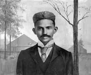 Gandhi shortly after arriving in South-Africa, in 1895. Via Wikipedia