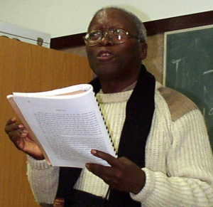 Lewis Nkosi at the Centre for the Study of Southern African Literature and Languages (CSSALL) at the University of Durban-Westville (UDW), 2001. Via Wikipedia