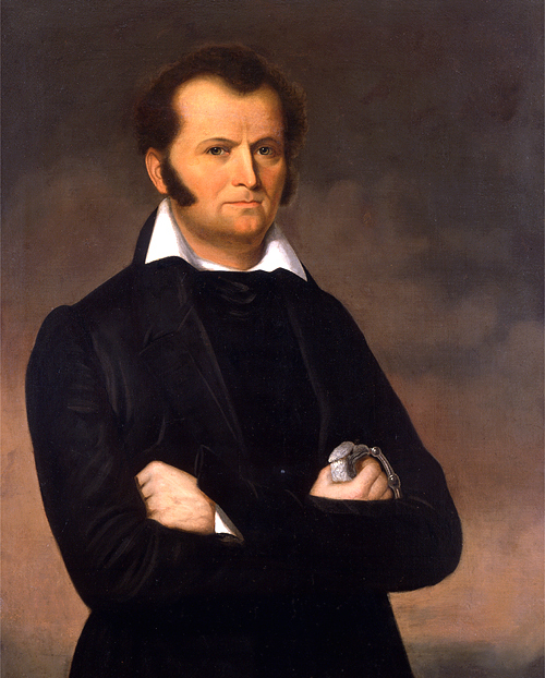 Portrait of Jim Bowie, by George Peter Alexander Healy. a copy of this portrait, painted in 1894, hangs in the Texas State Capitol building. Via Wikipedia.