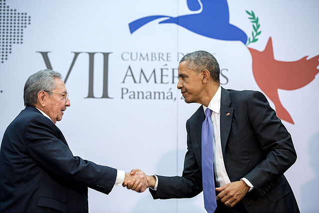 "April 11, 2015 ""The culmination of years of talks resulted in this handshake between the President and Cuban President Raúl Castro during the Summit of the Americas in Panama City, Panama."" (Official White House Photo by Pete Souza). Via Wikipedia."