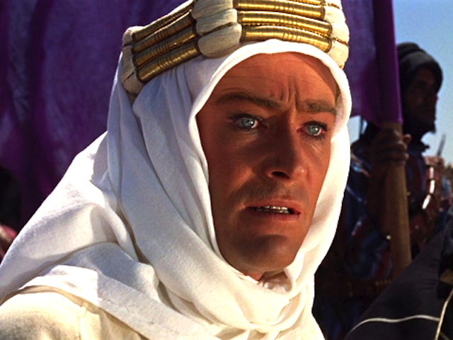 Peter O'Toole as T. E. Lawrence in Lawrence of Arabia. Via Wikipedia