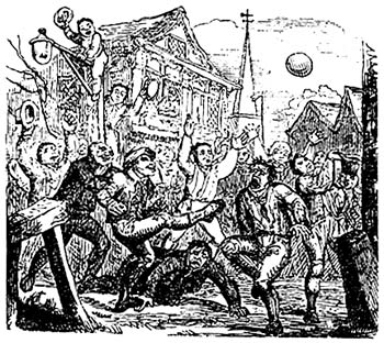 A mob football match played at London's Crowe Street in 1721. Via Wikipedia.
