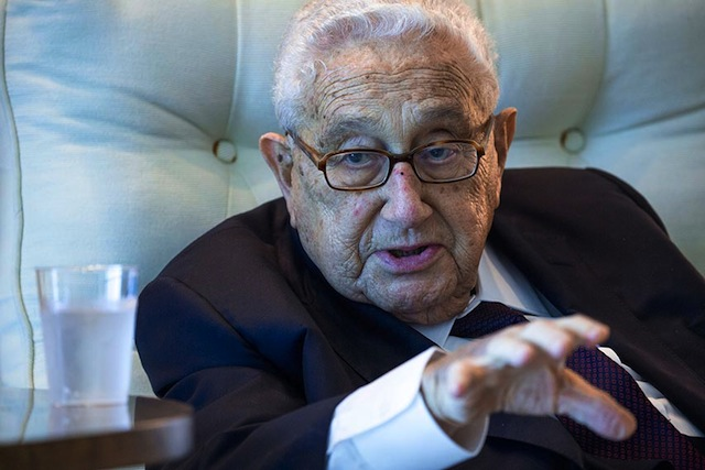 Kissinger relaxes at the LBJ Presidential Library before his public appearance on Tuesday, April 26, 2016 at The Vietnam War Summit. Courtesy of the LBJ Library : photo by David Hume Kennerly.