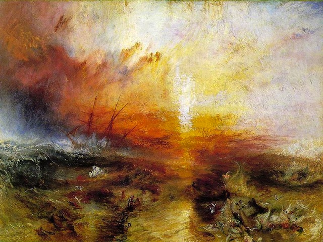A nineteen century painting captures the brutality of the 1781 Zong slave ship massacre. Museum of Fine Arts, Boston via Wikimedia Commons.