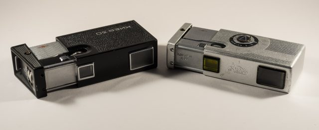 Two Soviet era subminiature cams. The one to the left is a Kiev-30 (1974-1983), the other one is a Kiev Vega 2 (1961-1964).